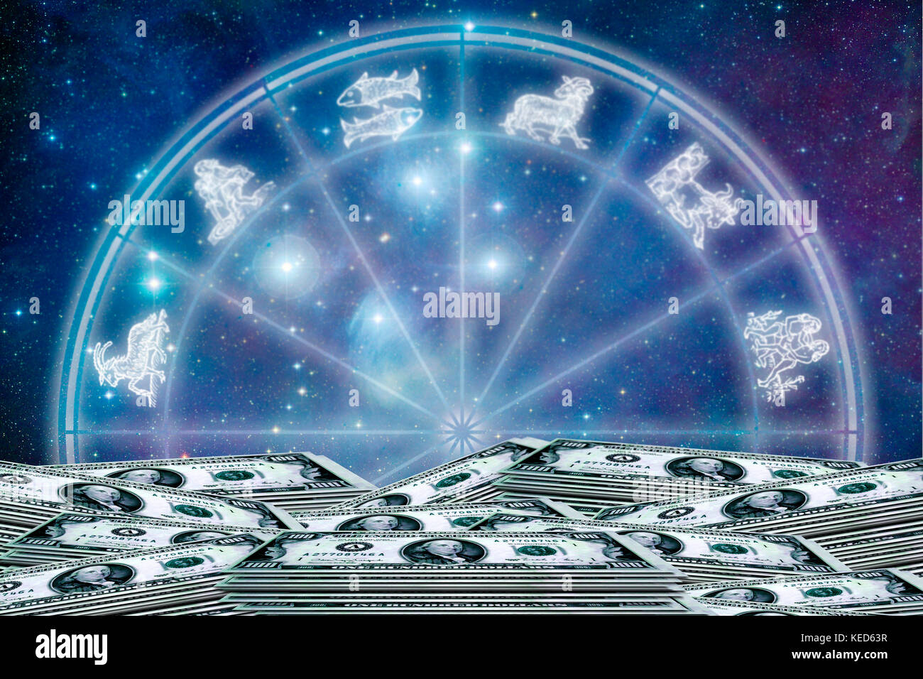 astrology and money concept, earning with astrology - Stock Image