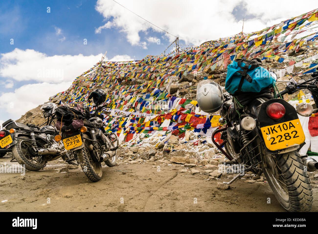 Motorcycles on the highest navigable road at Khardungla Top, Ladakh, India Stock Photo