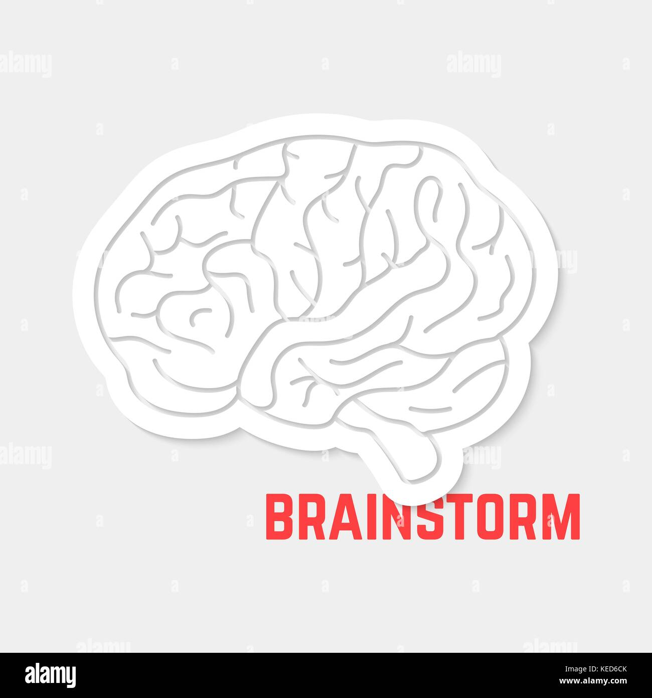 brainstorm with white outline brain icon - Stock Image