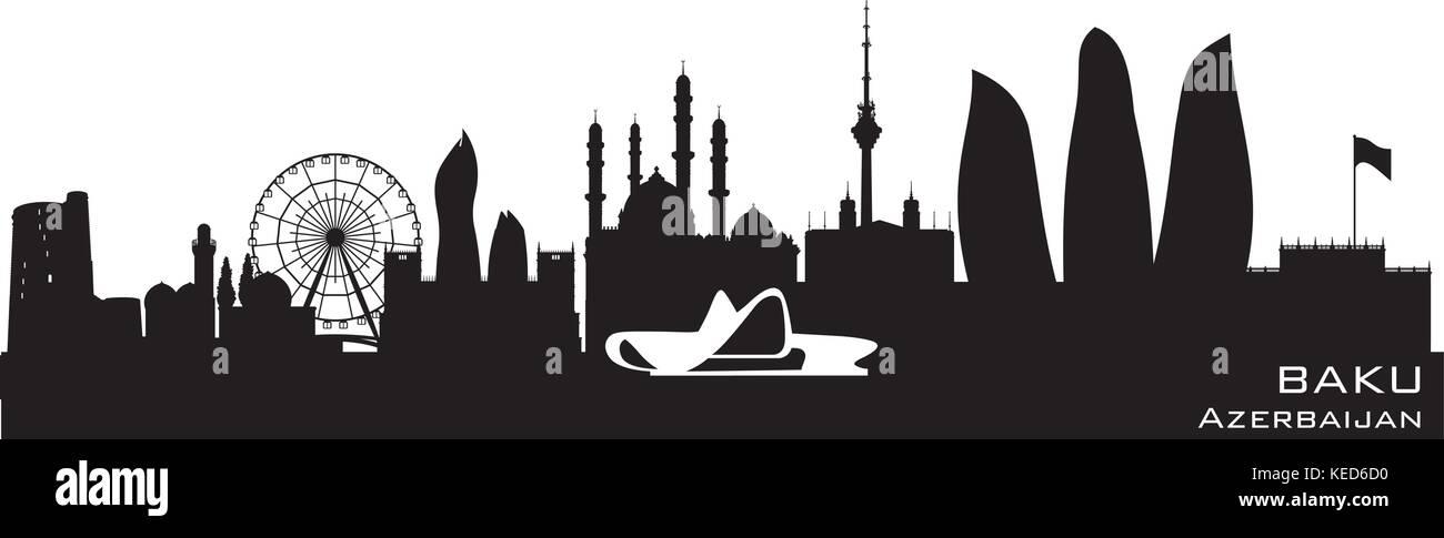 Baku Azerbaijan skyline Detailed vector silhouette - Stock Vector