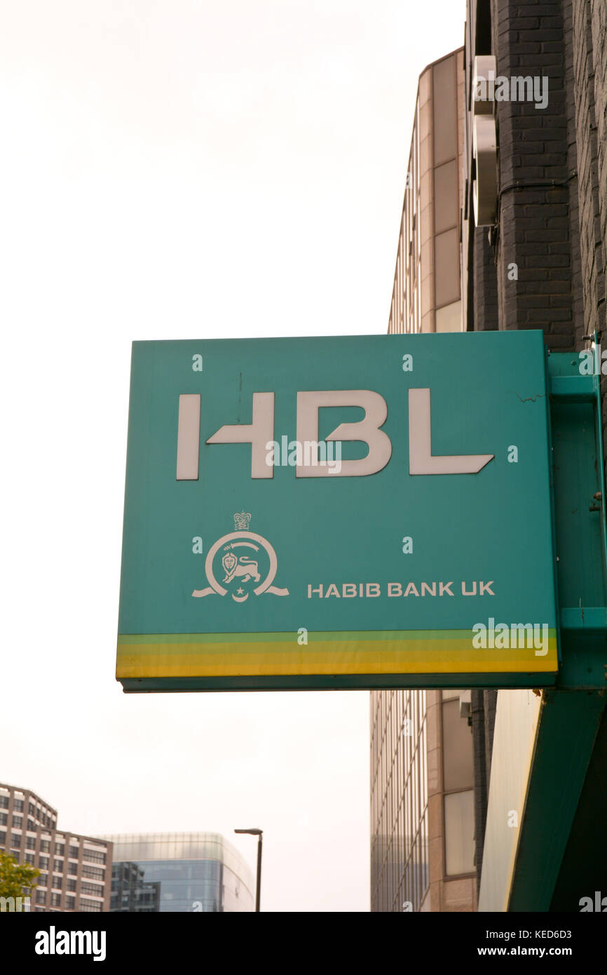 HBL Habib Bank UK sign outside branch - Stock Image
