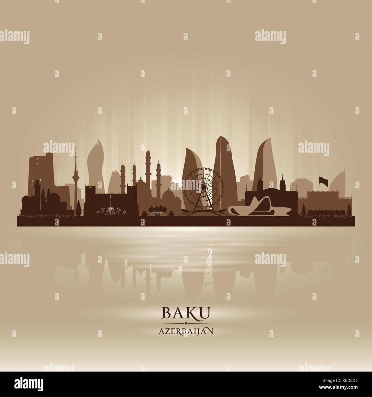Baku Azerbaijan city skyline vector silhouette illustration - Stock Vector