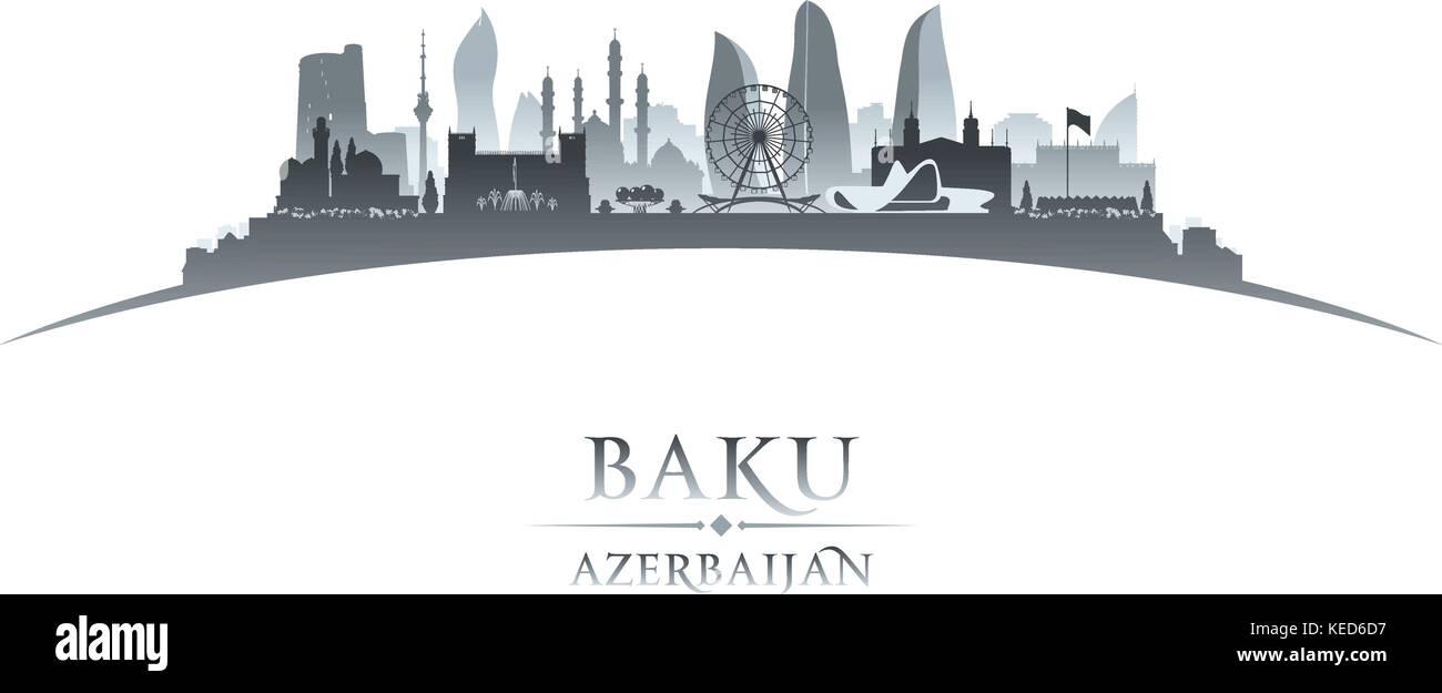 Baku Azerbaijan city skyline silhouette. Vector illustration - Stock Vector