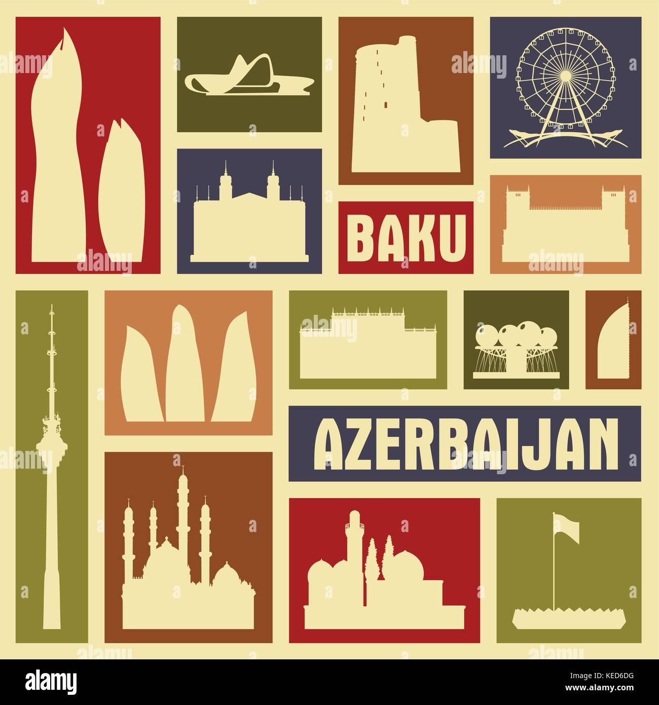 Baku Azerbaijan city icon symbol silhouette set. Vector background illustration - Stock Vector
