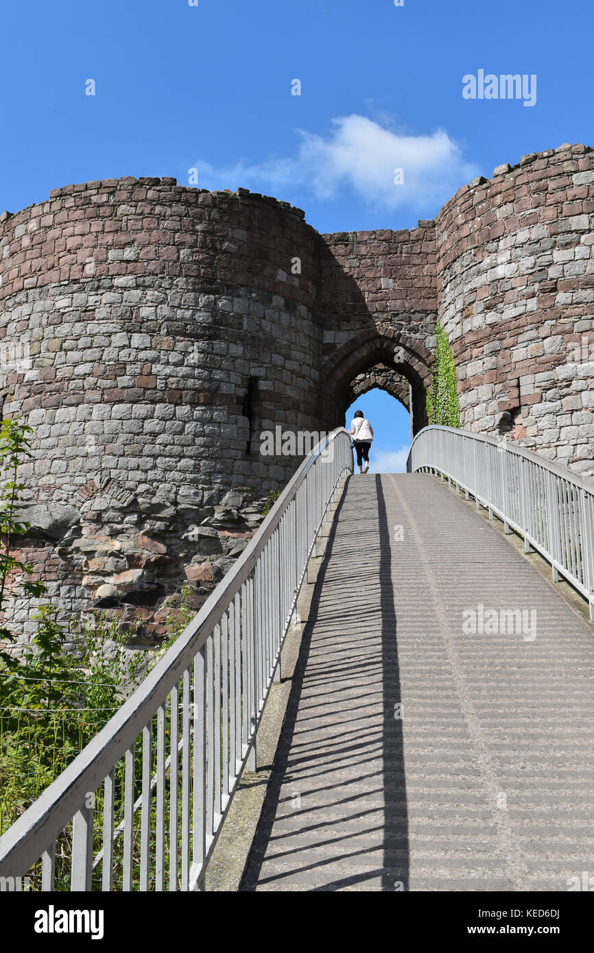 Beeston Castle sits on a rocky outcrop with extensive views over the Cheshire Plain - Stock Image