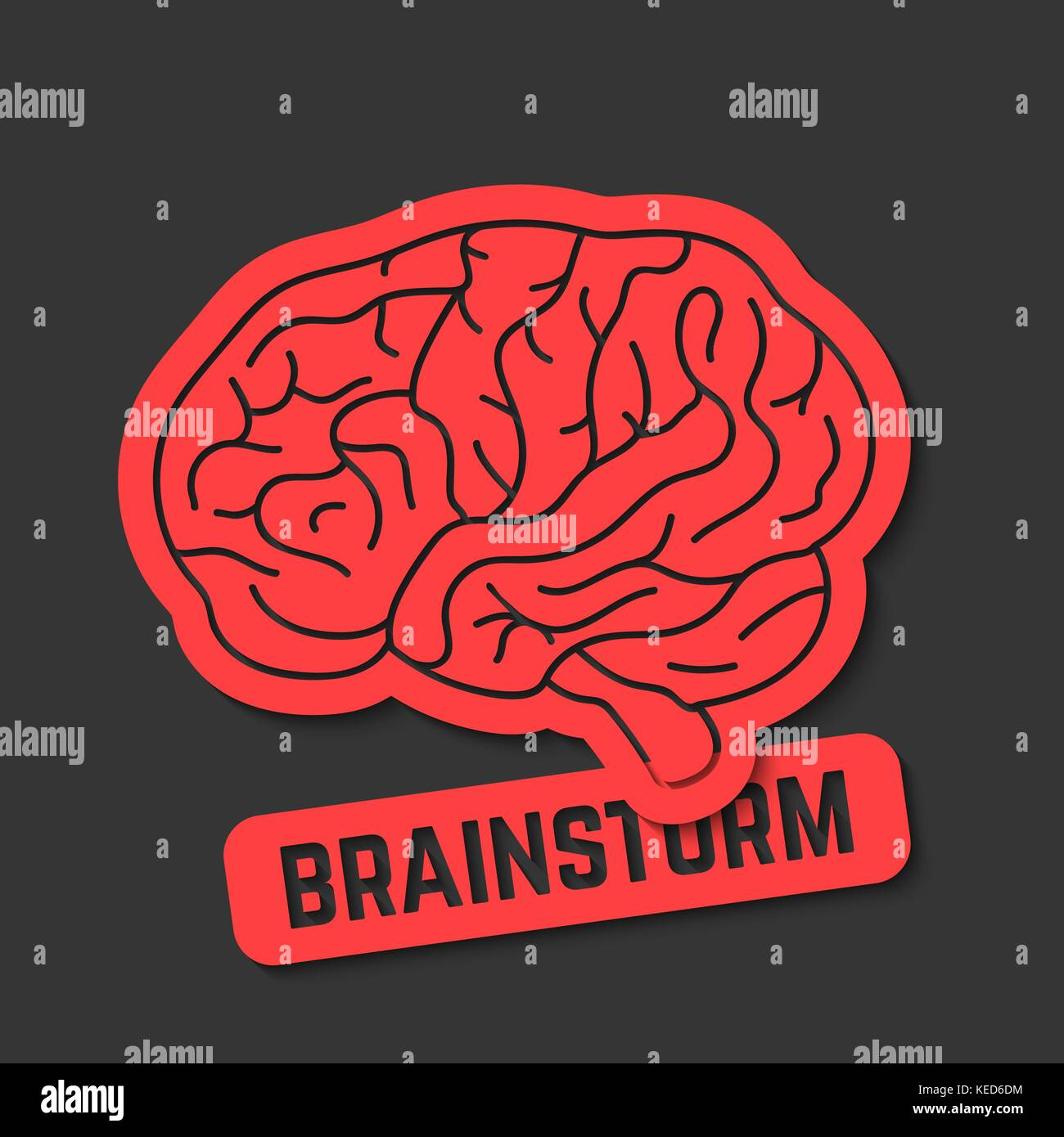 red outline brain icon like brainstorm - Stock Image