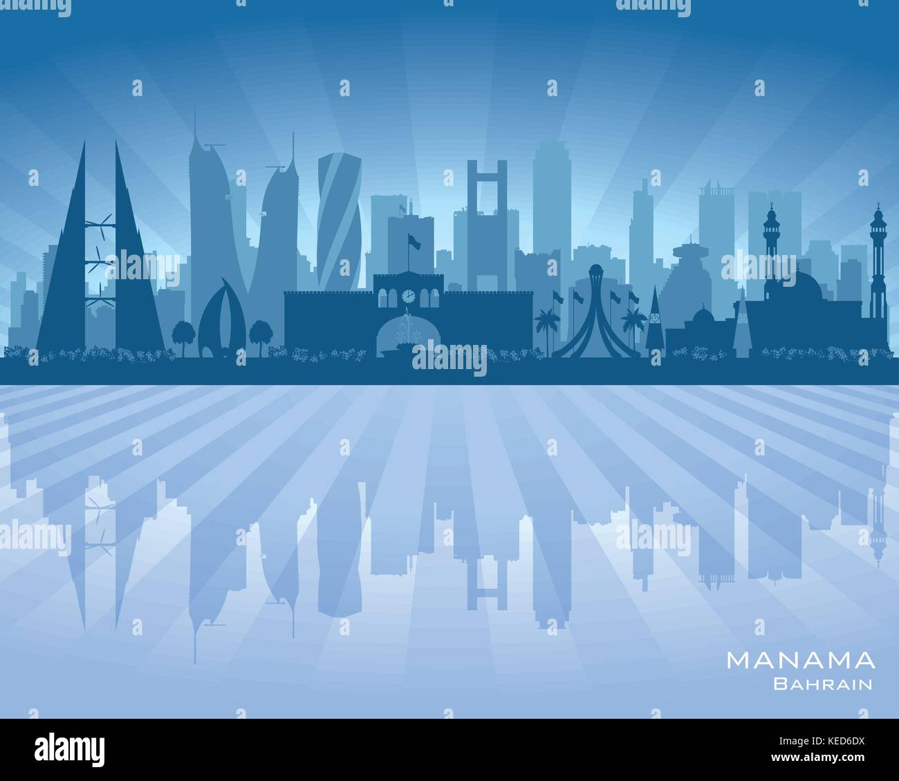 673b47d4d0e1 Manama Bahrain city skyline vector silhouette illustration - Stock Vector