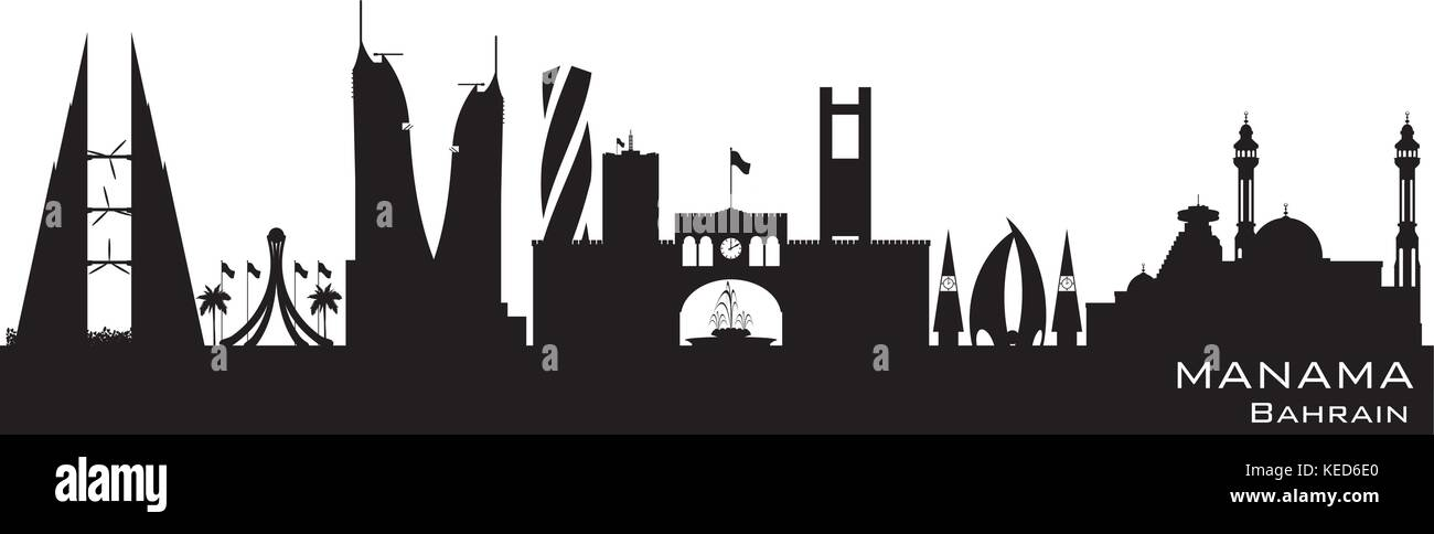 dd126eb40048 Manama Bahrain skyline Detailed vector silhouette - Stock Vector