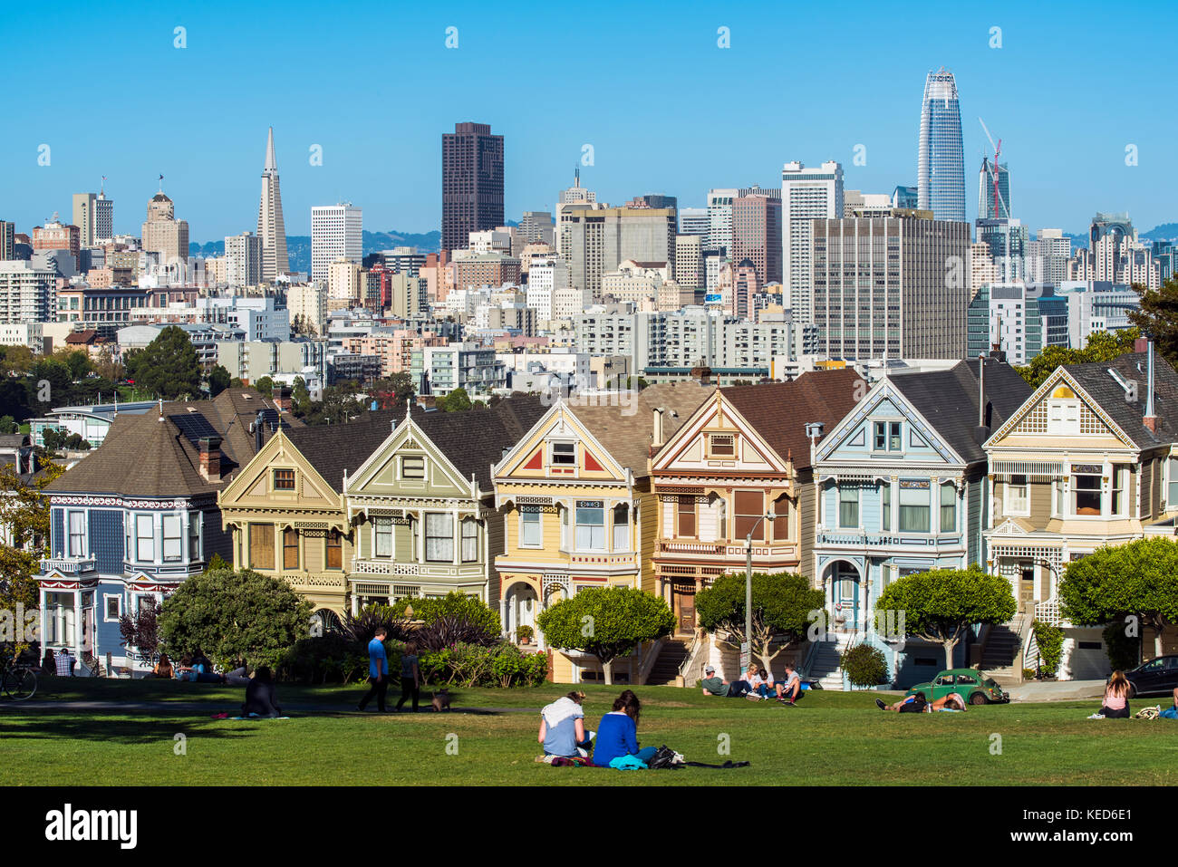 Alamo Square with the famous Painted Ladies Victorian and Edwardian houses, San Francisco, California, USA - Stock Image