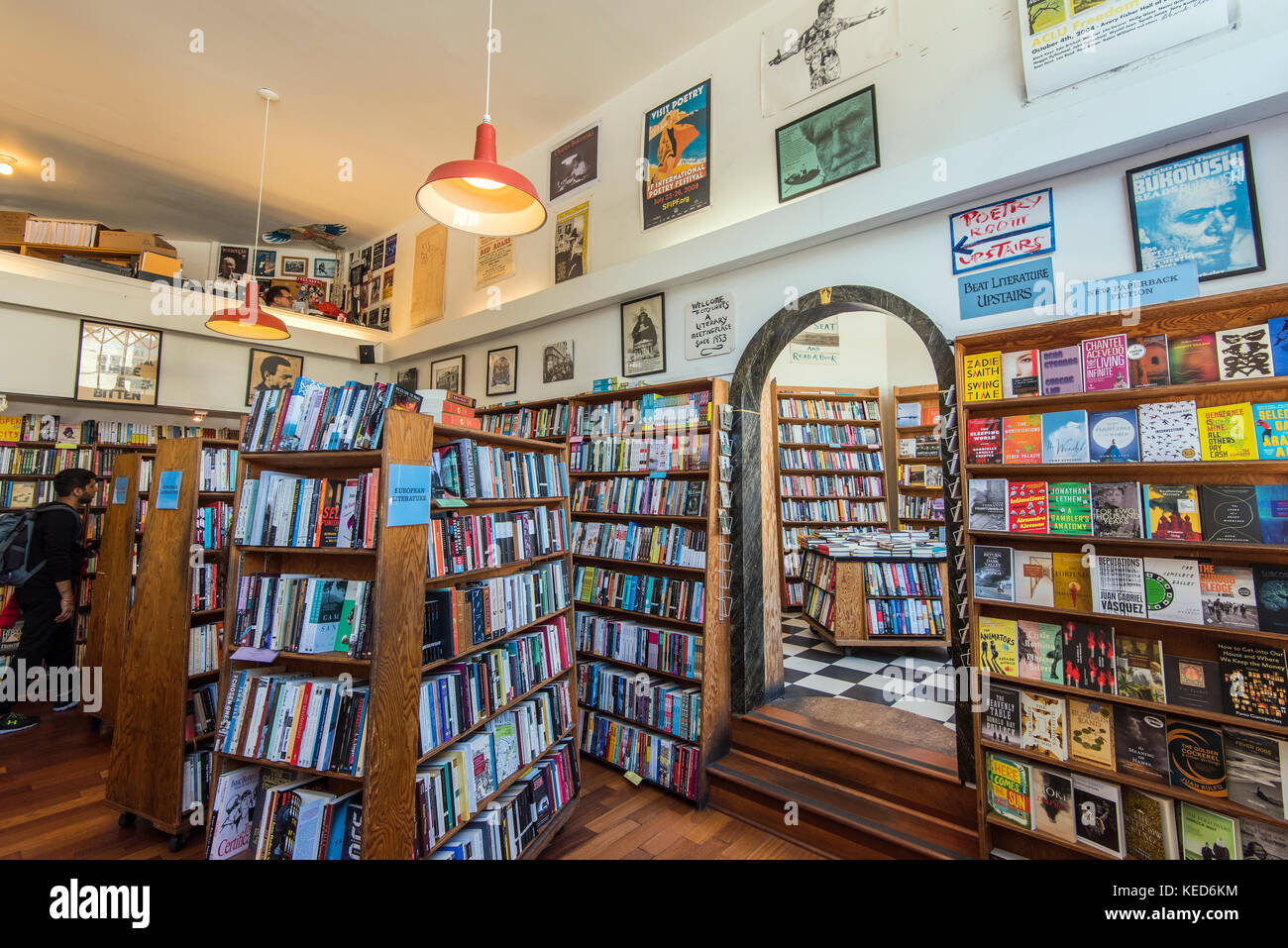 Interior view of the historical City Lights Bookstore, San Francisco, California, USA - Stock Image