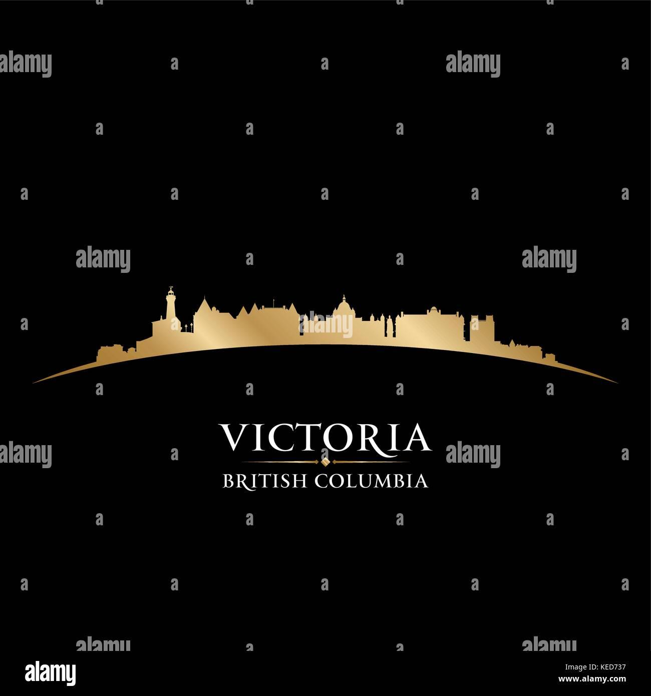 Victoria British Columbia Canada city skyline silhouette. Vector illustration - Stock Image
