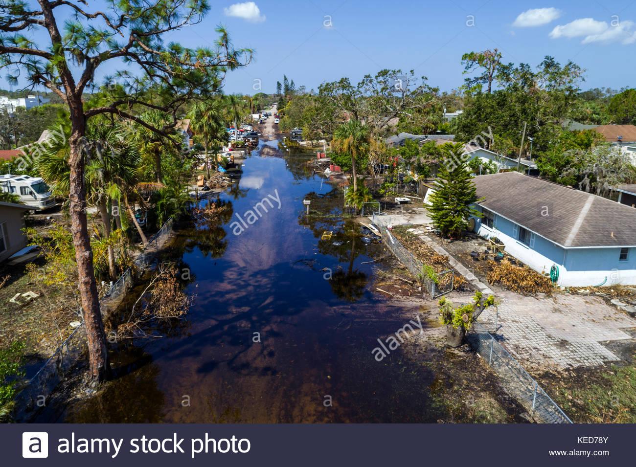 Florida, FL South, Bonita Springs, Chapman Avenue Quinn Street, flooding, Hurricane Irma, sightseeing visitors travel traveling tour tourist tourism l Stock Photo