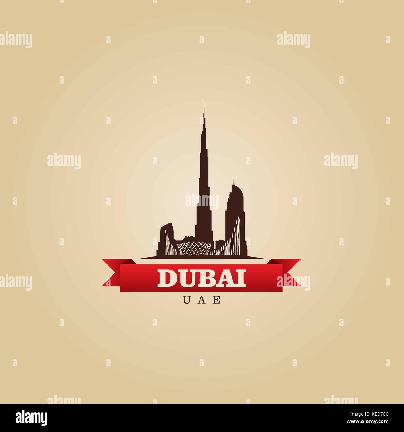 Dubai UAE city symbol vector illustration Stock Vector