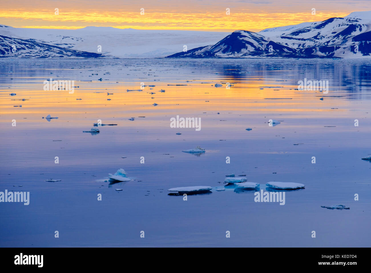 Offshore view across sea ice to mountains and glacier on east coast in arctic summer evening light. Spitsbergen, - Stock Image