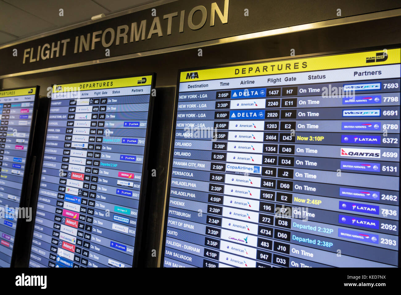 Calendario Fids.Miami Florida Mia Miami International Airport Flight