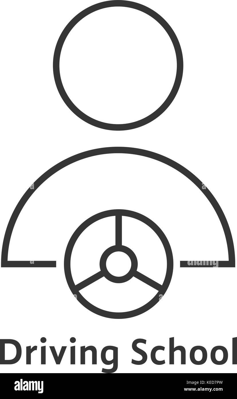 thin line driving school logo - Stock Image