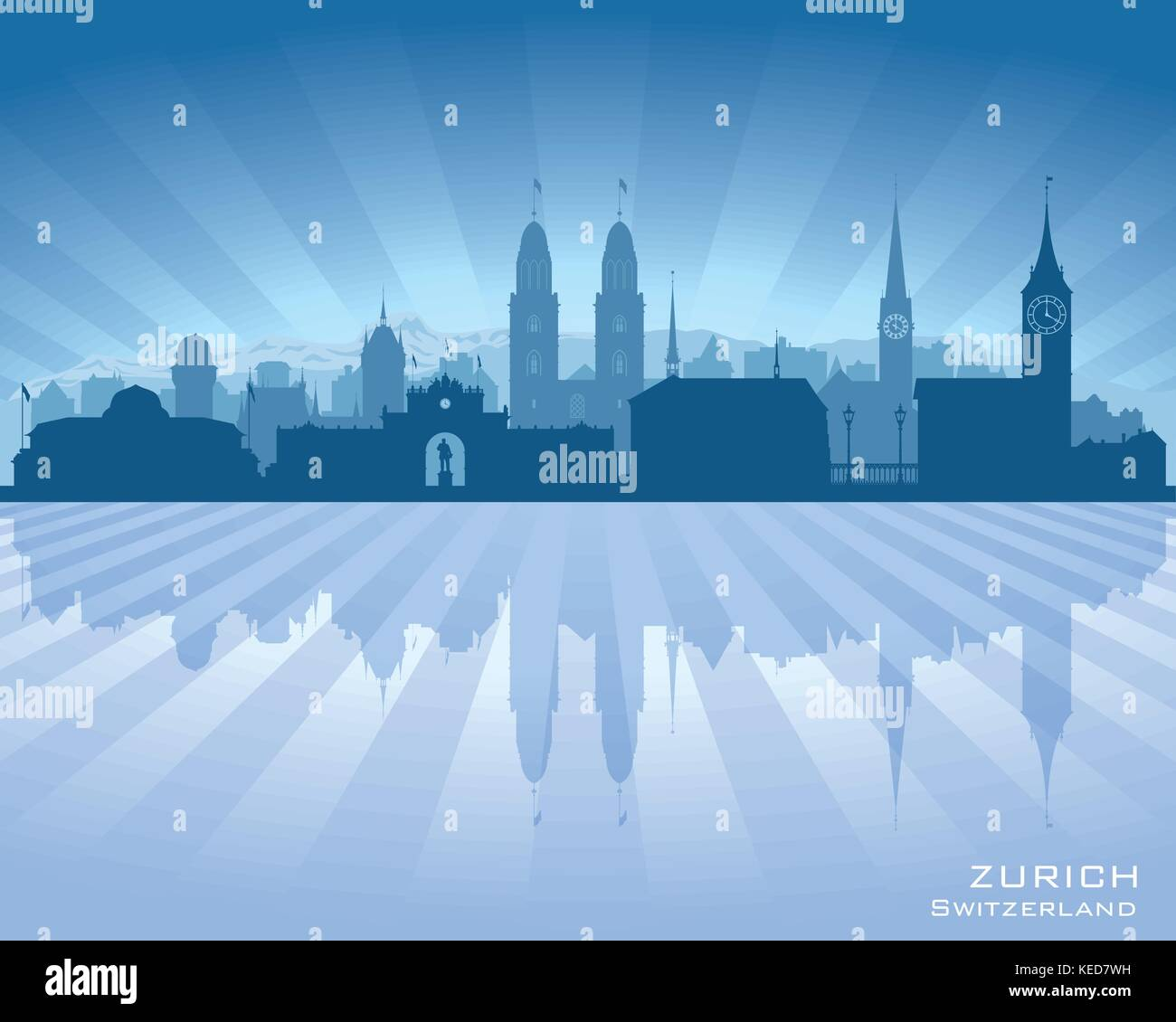 Zurich Switzerland city skyline vector silhouette illustration - Stock Vector