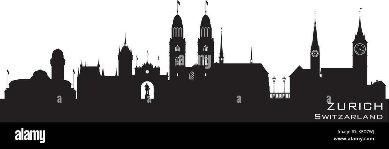 Zurich Switzerland skyline Detailed vector silhouette - Stock Vector