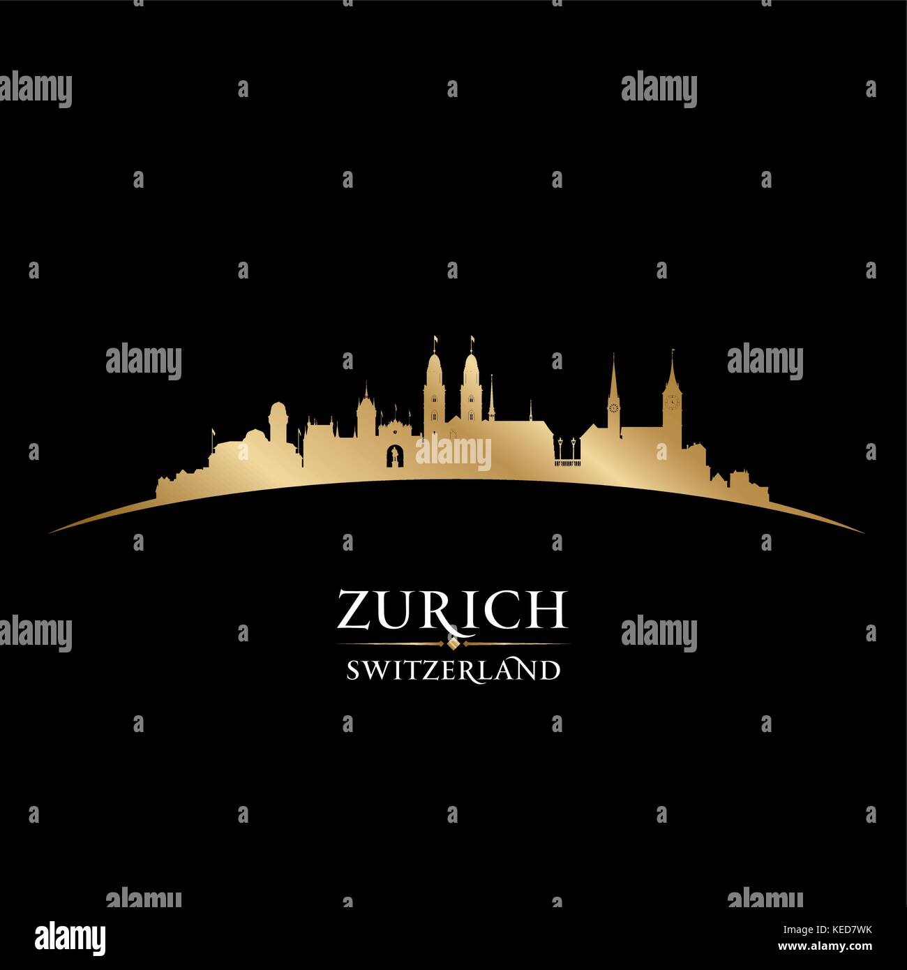 Zurich Switzerland city skyline silhouette. Vector illustration - Stock Vector