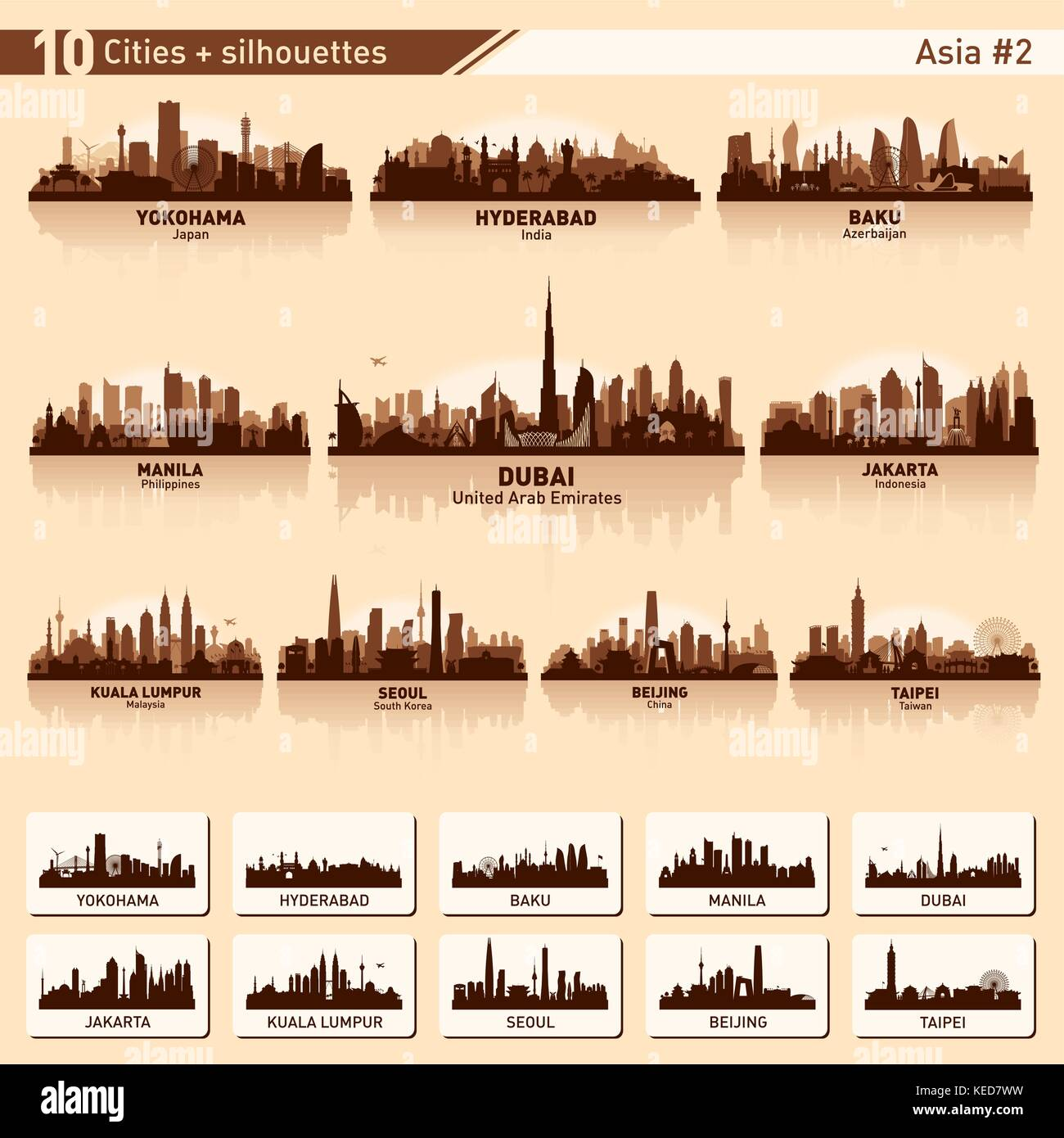 City skyline set. Asia. Vector silhouette illustration. - Stock Vector
