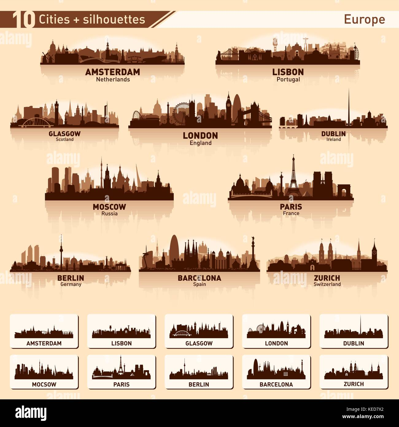 City skyline set. Europe. Vector silhouette illustration. - Stock Vector