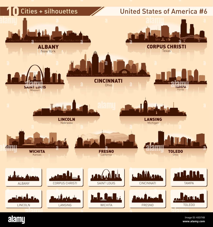 City skyline set. 10 vector city silhouettes of USA #6 - Stock Vector