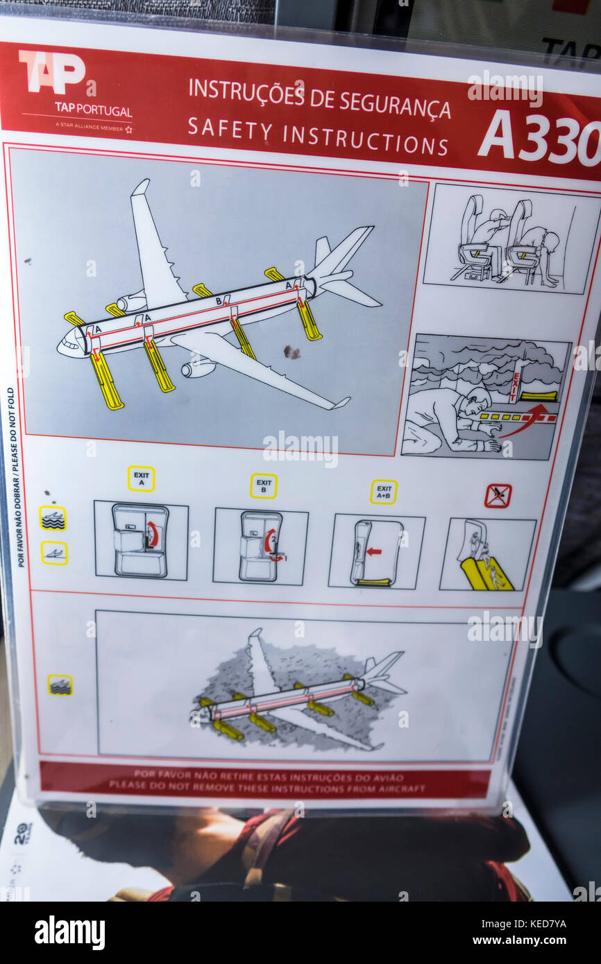 Miami Florida MIA Miami International Airport TAP Air Portugal airline aircraft safety card instructions Airbus Stock Photo