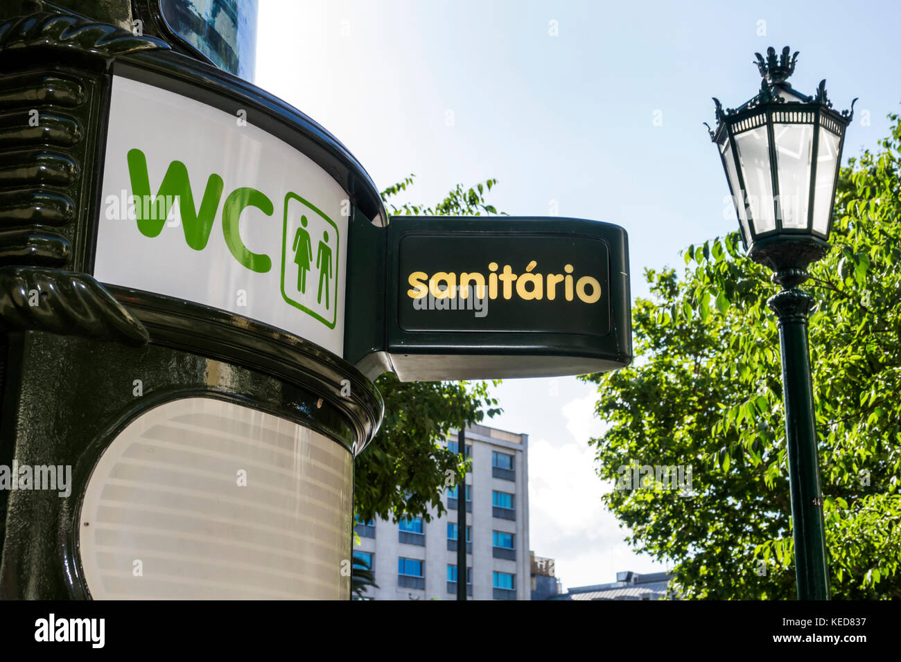 Lisbon Portugal Avenida da Liberdade pedestrian promenade public washroom pay bathroom water closet WC - Stock Image