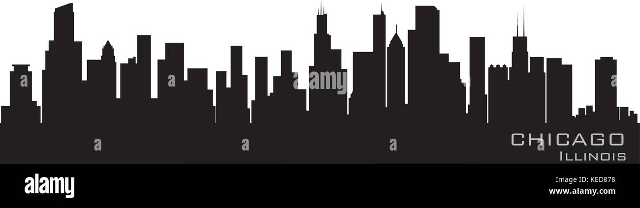 Chicago, Illinois skyline. Detailed vector silhouette - Stock Vector