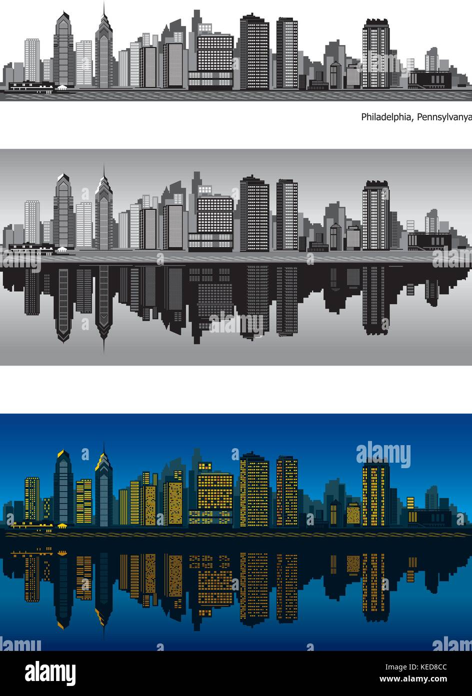 Philadelphia skyline with reflection in water - Stock Vector