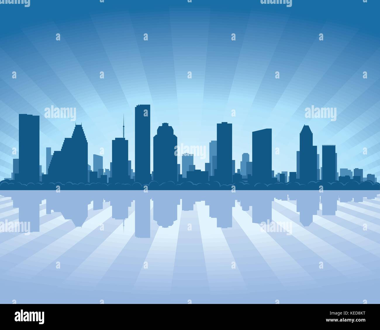Houston skyline with reflection in water - Stock Vector
