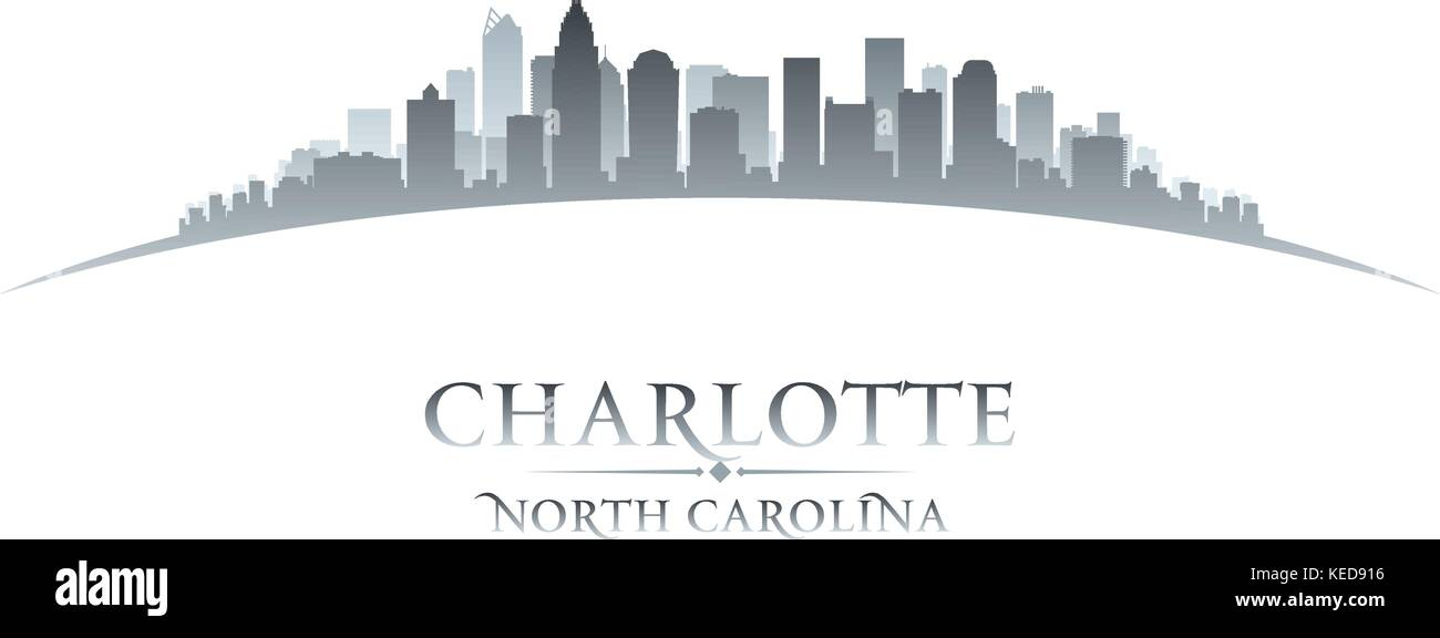 Charlotte North Carolina city skyline silhouette. Vector illustration - Stock Vector