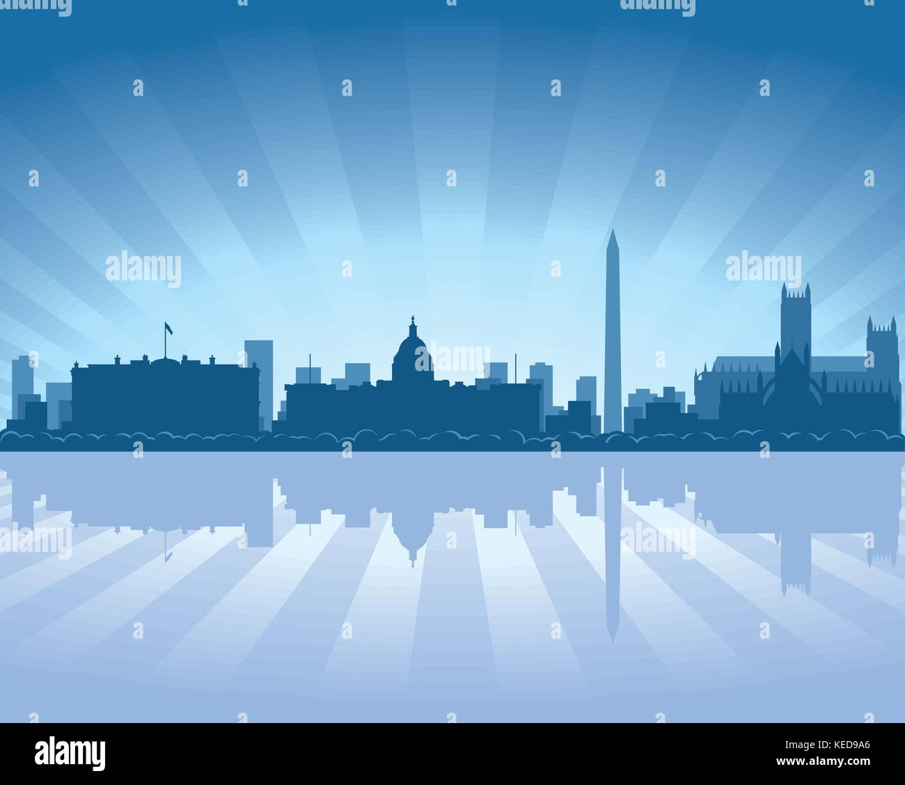 Washington skyline with reflection in water - Stock Vector