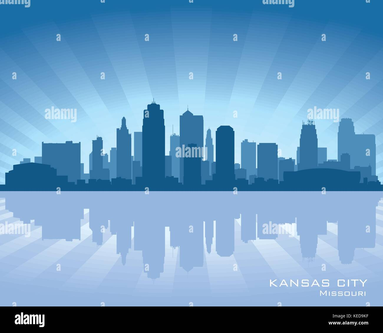 Kansas city, Missouri skyline with reflection in water - Stock Vector