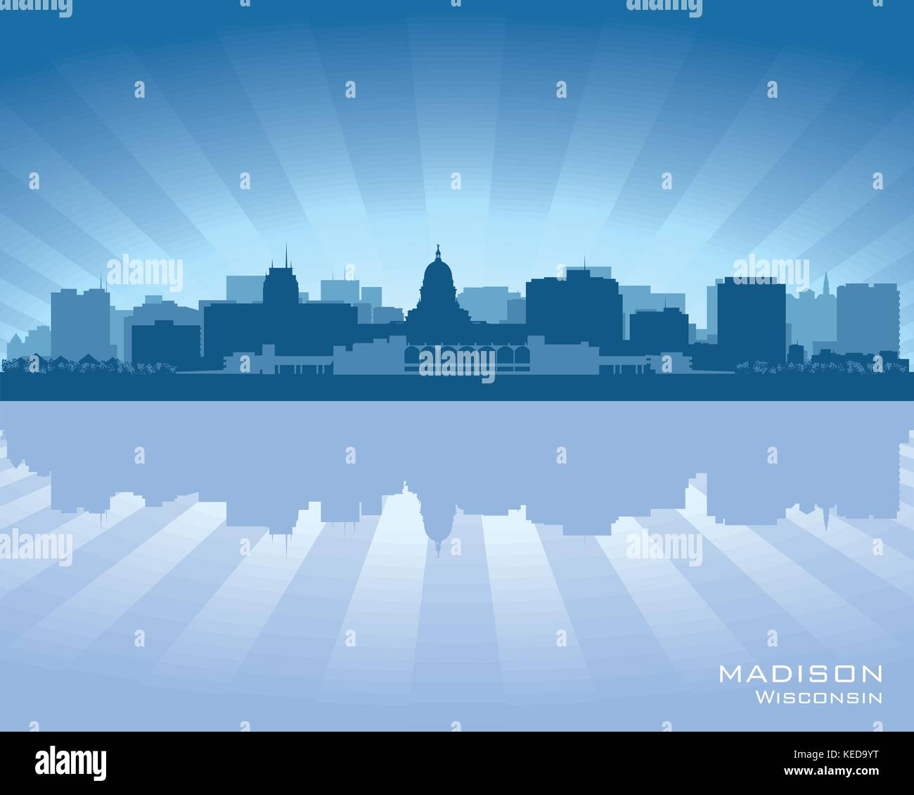 madison wisconsin skyline city silhouette stock vector art