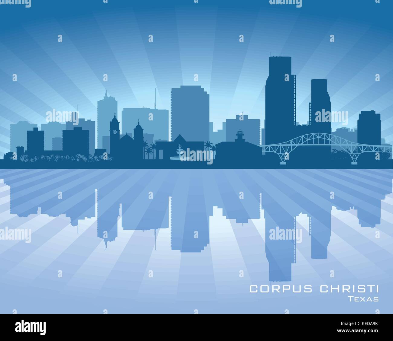 Corpus Christi Texas city skyline vector silhouette illustration Stock Vector