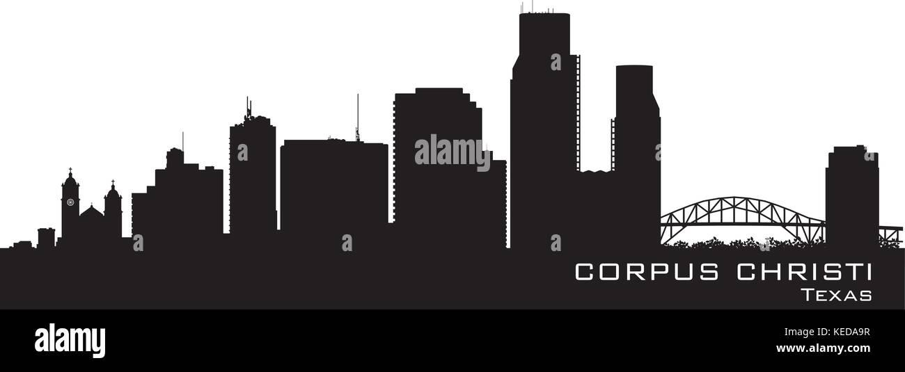 Corpus Christi Texas skyline Detailed vector silhouette - Stock Vector