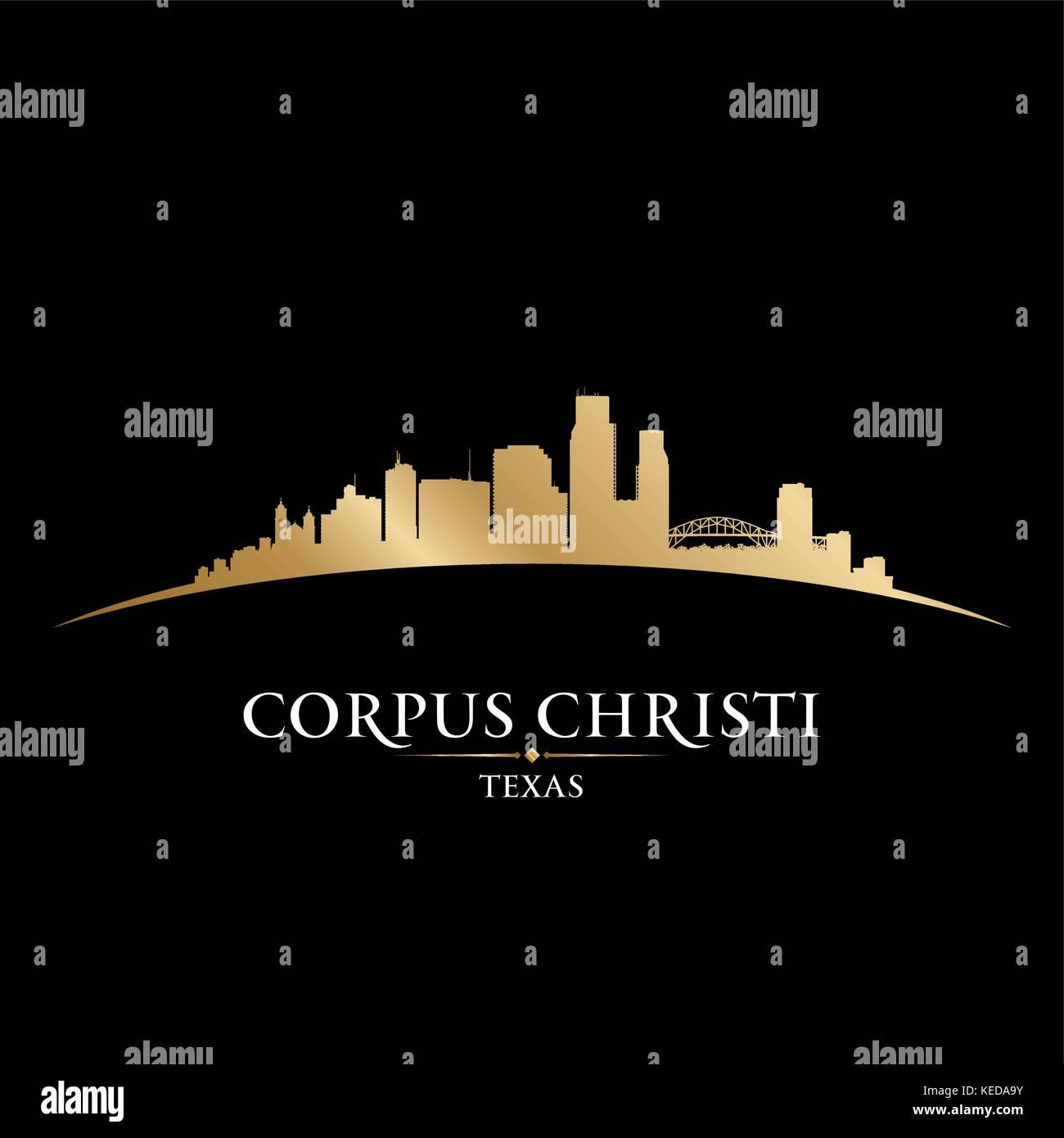 Corpus Christi Texas city skyline silhouette. Vector illustration Stock Vector