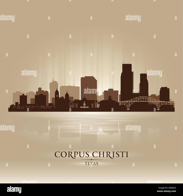 Corpus Christi Texas city skyline vector silhouette illustration - Stock Vector