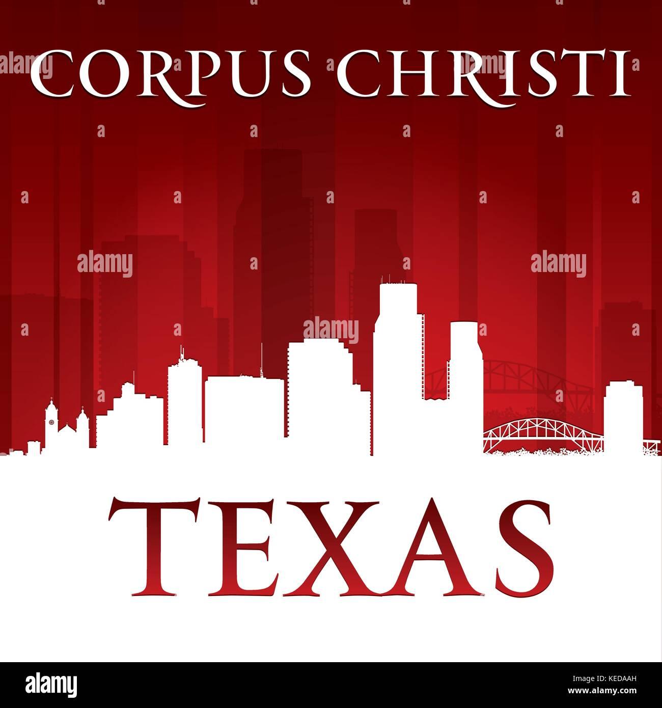 Corpus Christi Texas city skyline silhouette. Vector illustration - Stock Vector