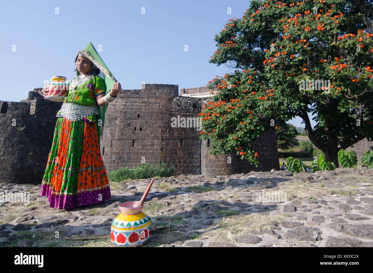 Indian child dancer at Chand Minar - Stock Image