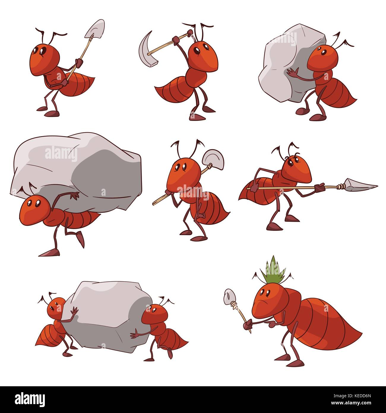 Collection of colorful vector illustrations of cartoon red ant colony - Stock Image