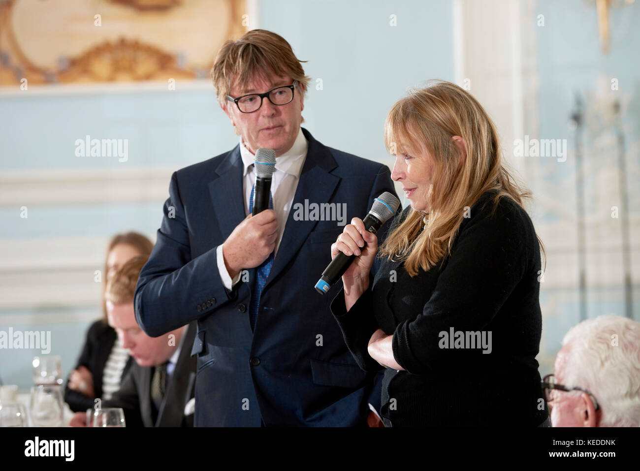 Giles Wood and Mary Killen at the Oldie literary lunch Stock Photo