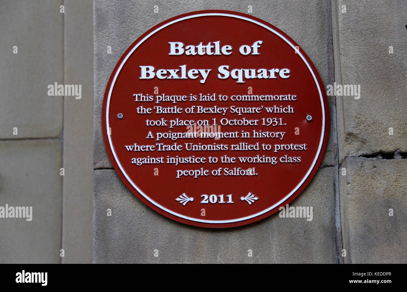 Battle of Bexley Square Plaque at Salford - Stock Image