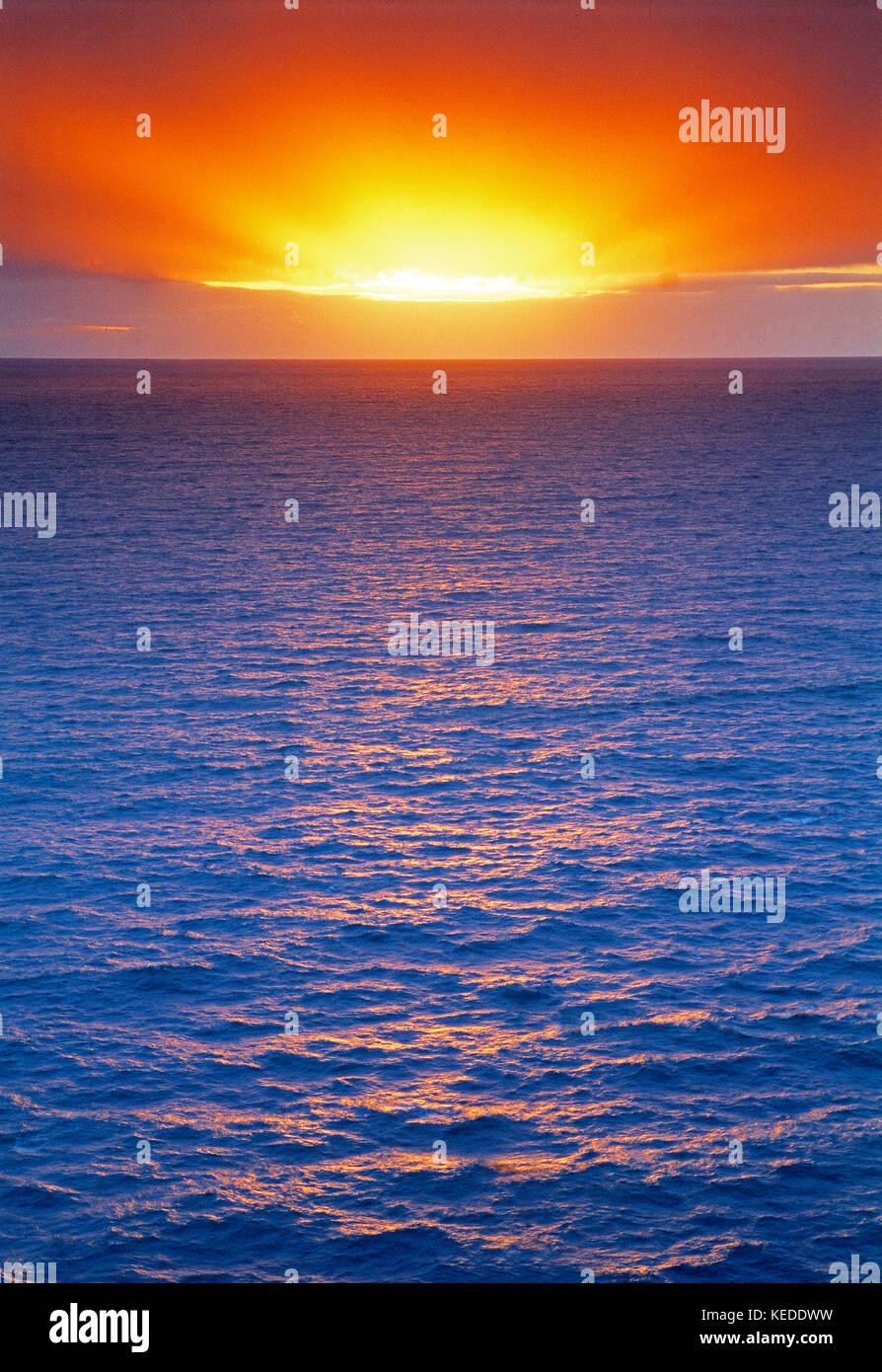 Scenic. Sunrise over the sea. Stock Photo