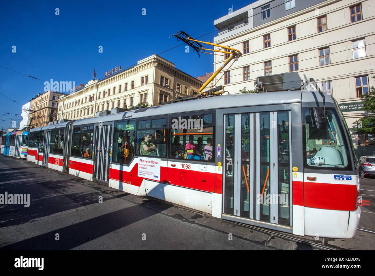 Tram on Benesova street in front of Grand Hotel, Brno, Czech Republic - Stock Image
