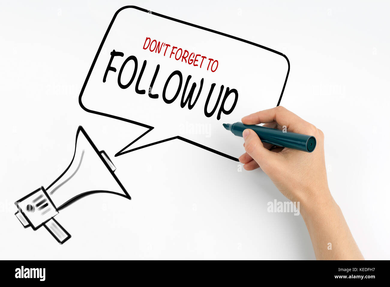 Don't Forget to Follow Up. Megaphone and text on a white background - Stock Image