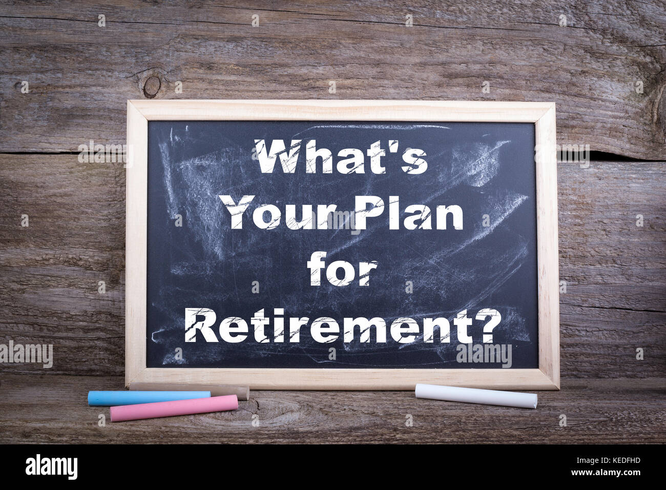 What's Your Plan for Retirement. Chalk board Background - Stock Image