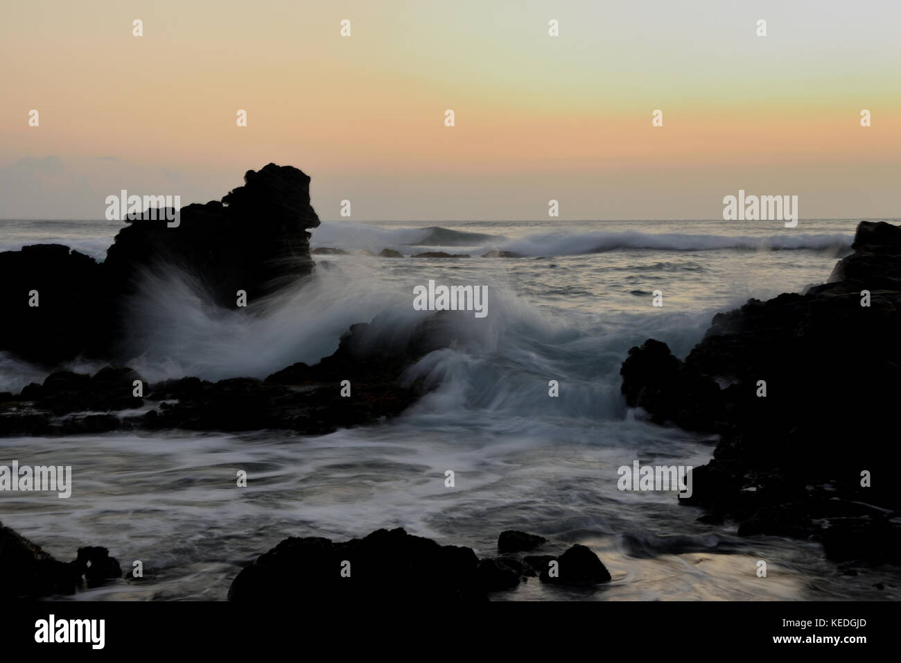 Sunrise photoshoot at Erma's Beach on the island of Oahu, HawaiiStock Photo