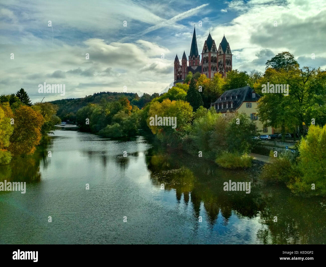 Panoramic view to Lahn and Limburg Cathedral. - Stock Image